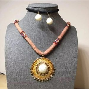Ethnic red n yellow round pendant necklace set